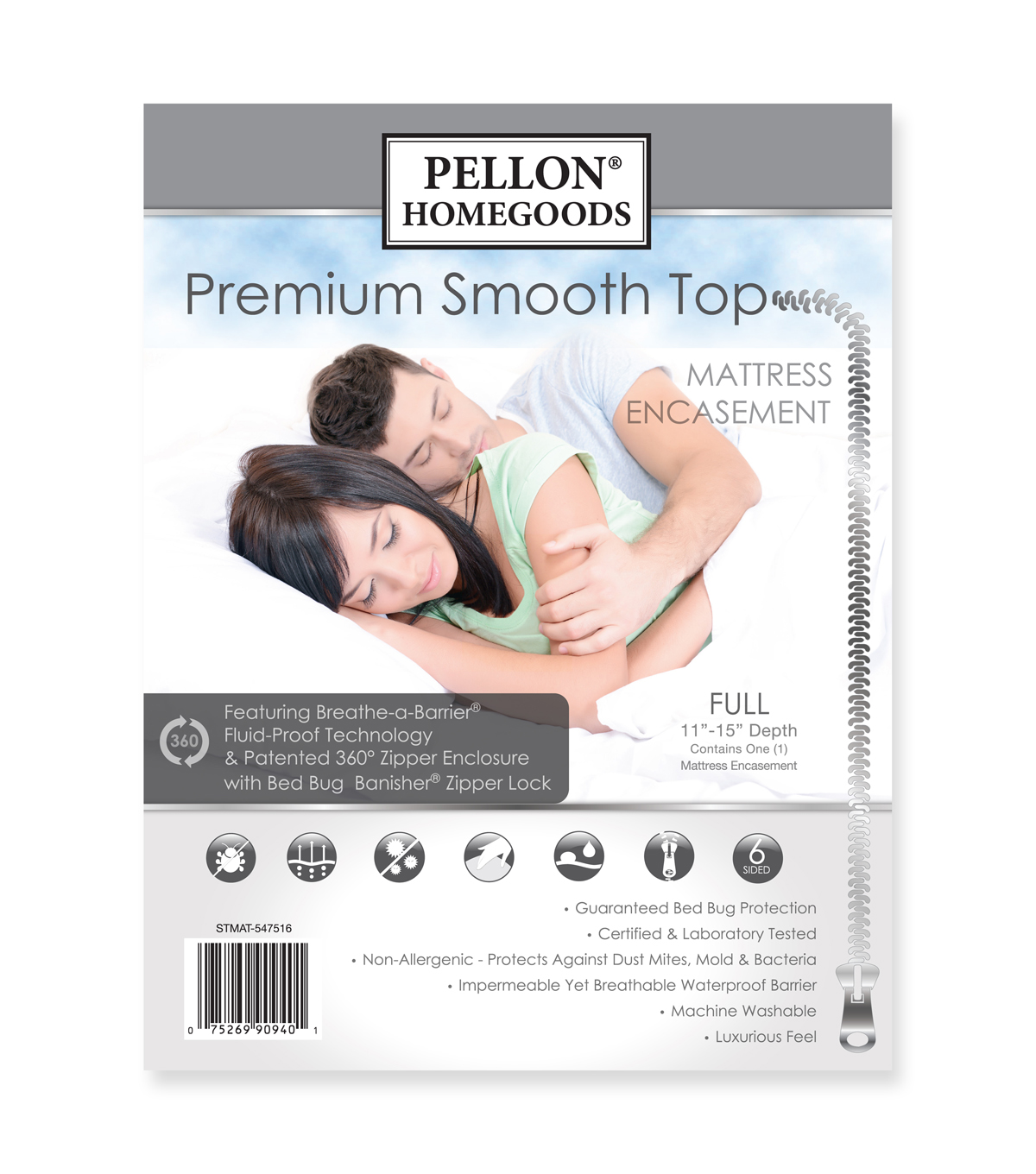 Pellon Premium Smooth Top Mattress Encasement Full 54\u0022 X 75\u0022