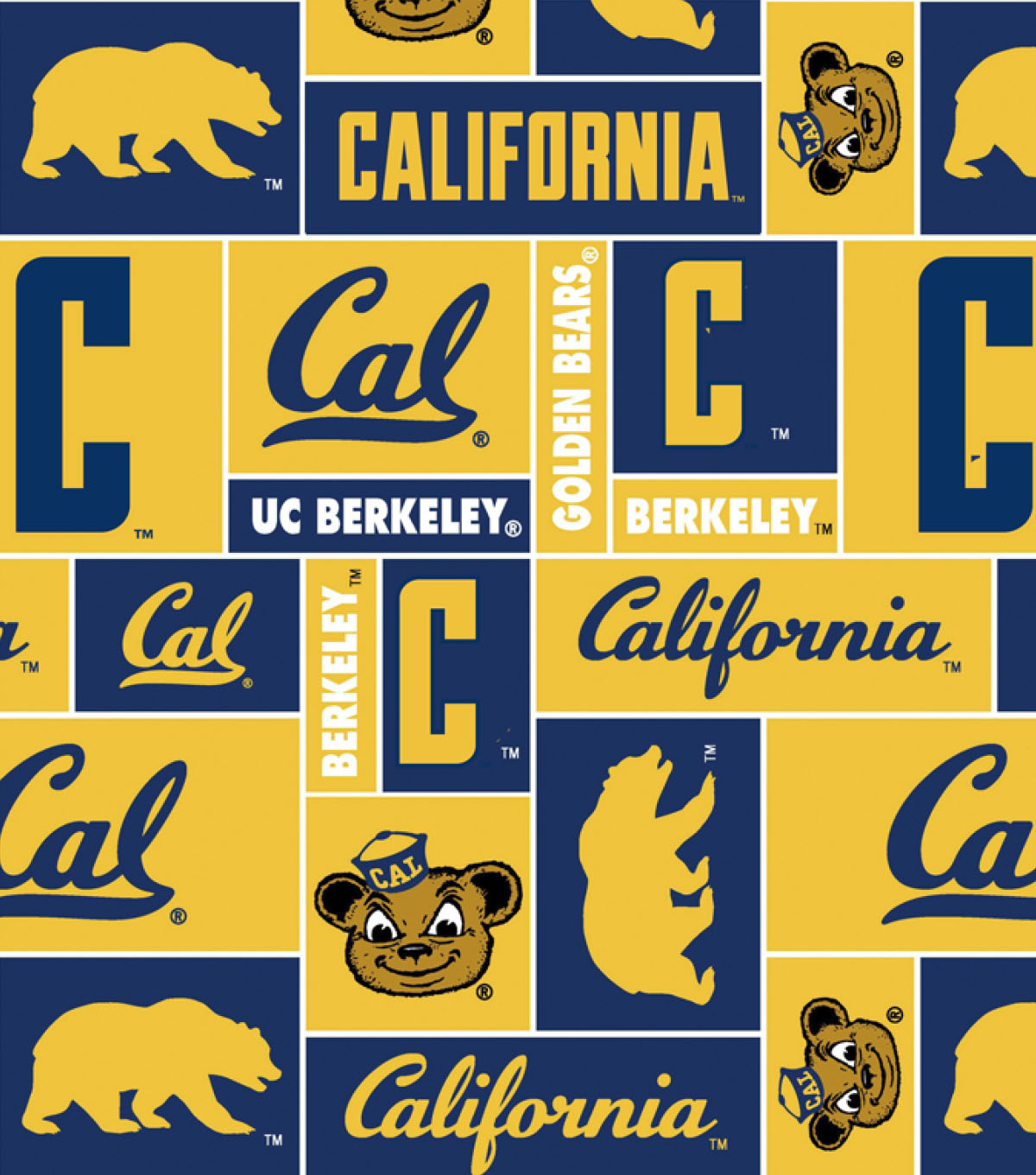 University of California Berkeley Golden Bears Fleece Fabric -Block