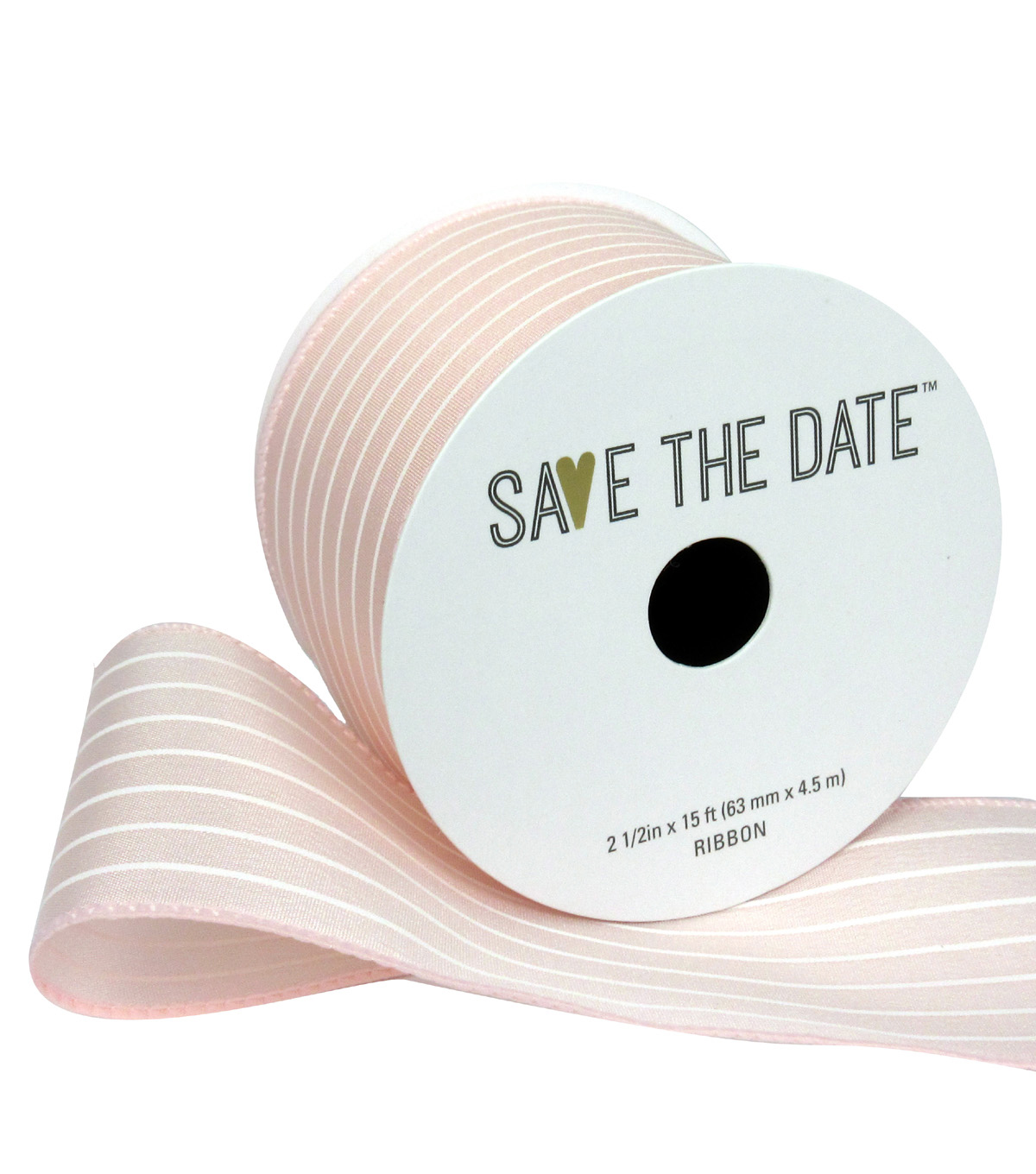 Save the Date 2.5\u0022 x 15ft Ribbon-Blush White Stripe