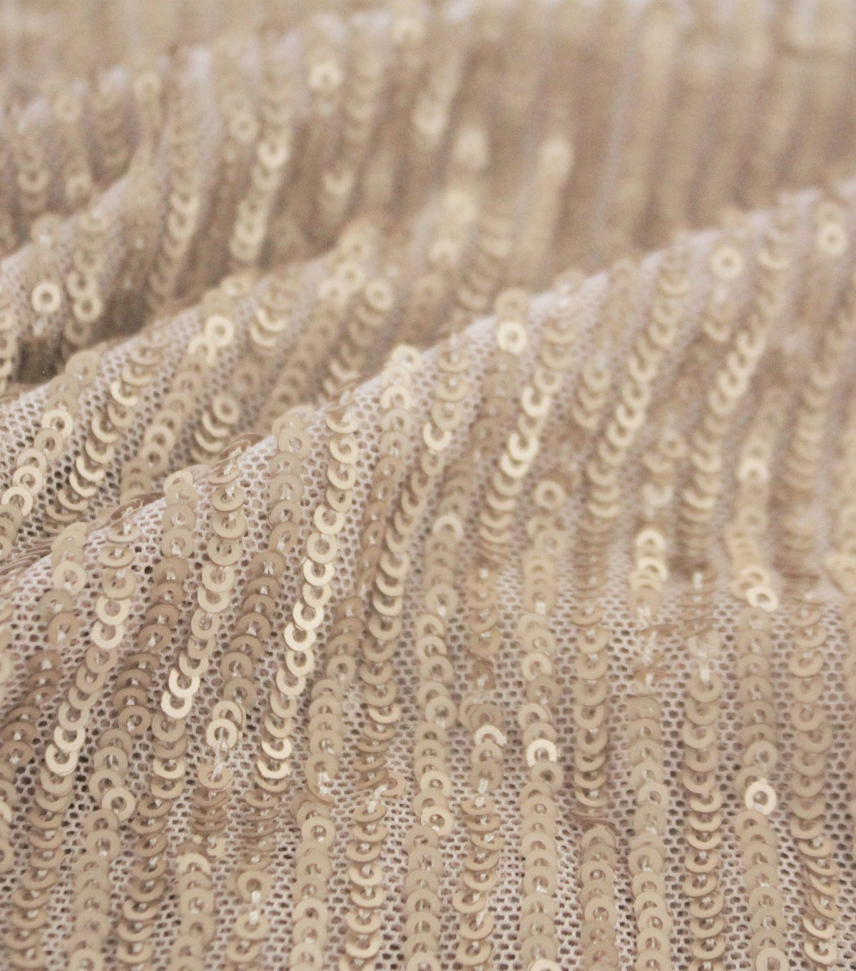 Waterfall Sequins on Mesh Fabric-Nude