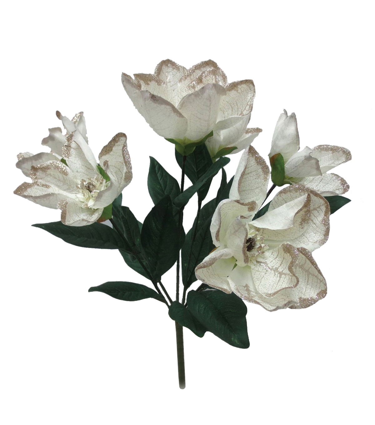 Blooming Holiday Christmas Glitter Tip Magnolia Bush-Ivory