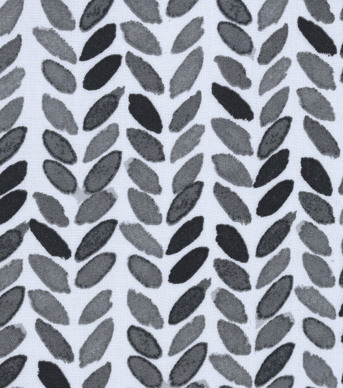Silky Print Rayon Fabric 53 Black Gray Leaves On White Joann