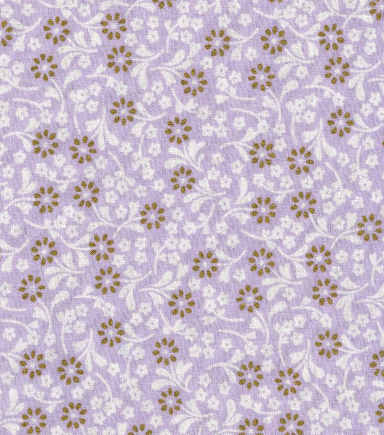 Keepsake Calico Cotton Fabric -Ditsy Floral Purple withGold Metallic
