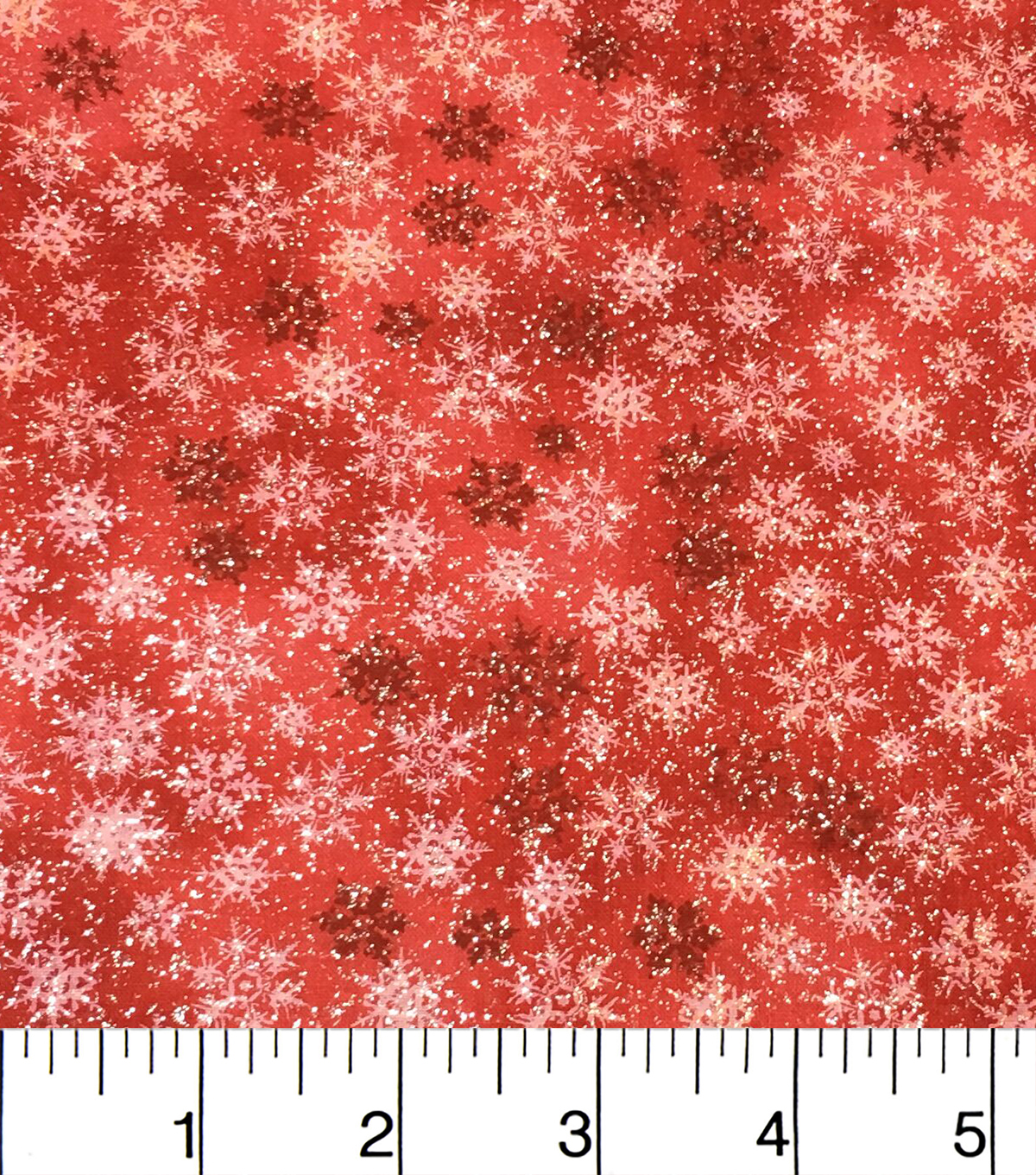 Keepsake Calico Holiday Cotton Fabric 43\u0022-Red Glitter Snowflake