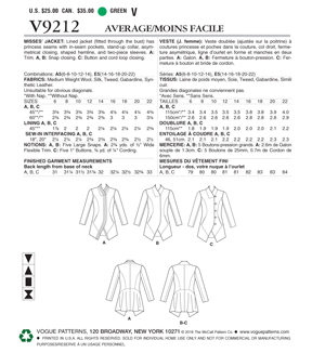 Vogue Pattern V9212 Misses\u0027 Seamed & Collared Jackets-Size 14-22
