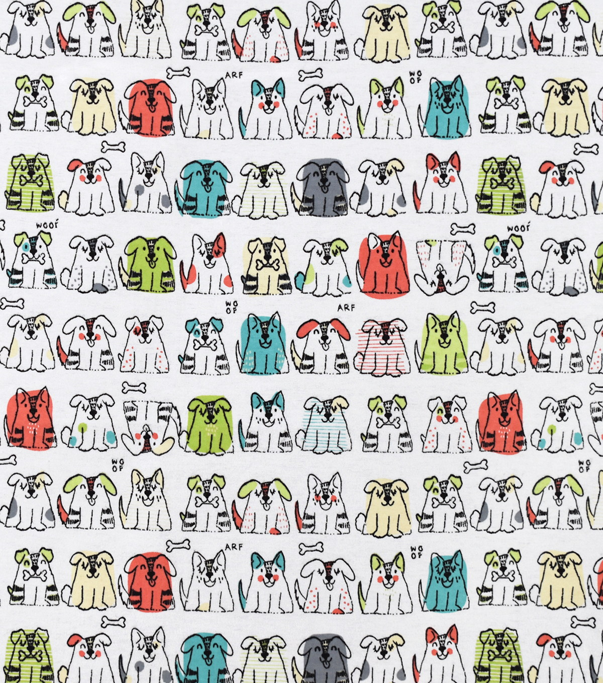 Snuggle Flannel Fabric-Sketched Pups with Bones