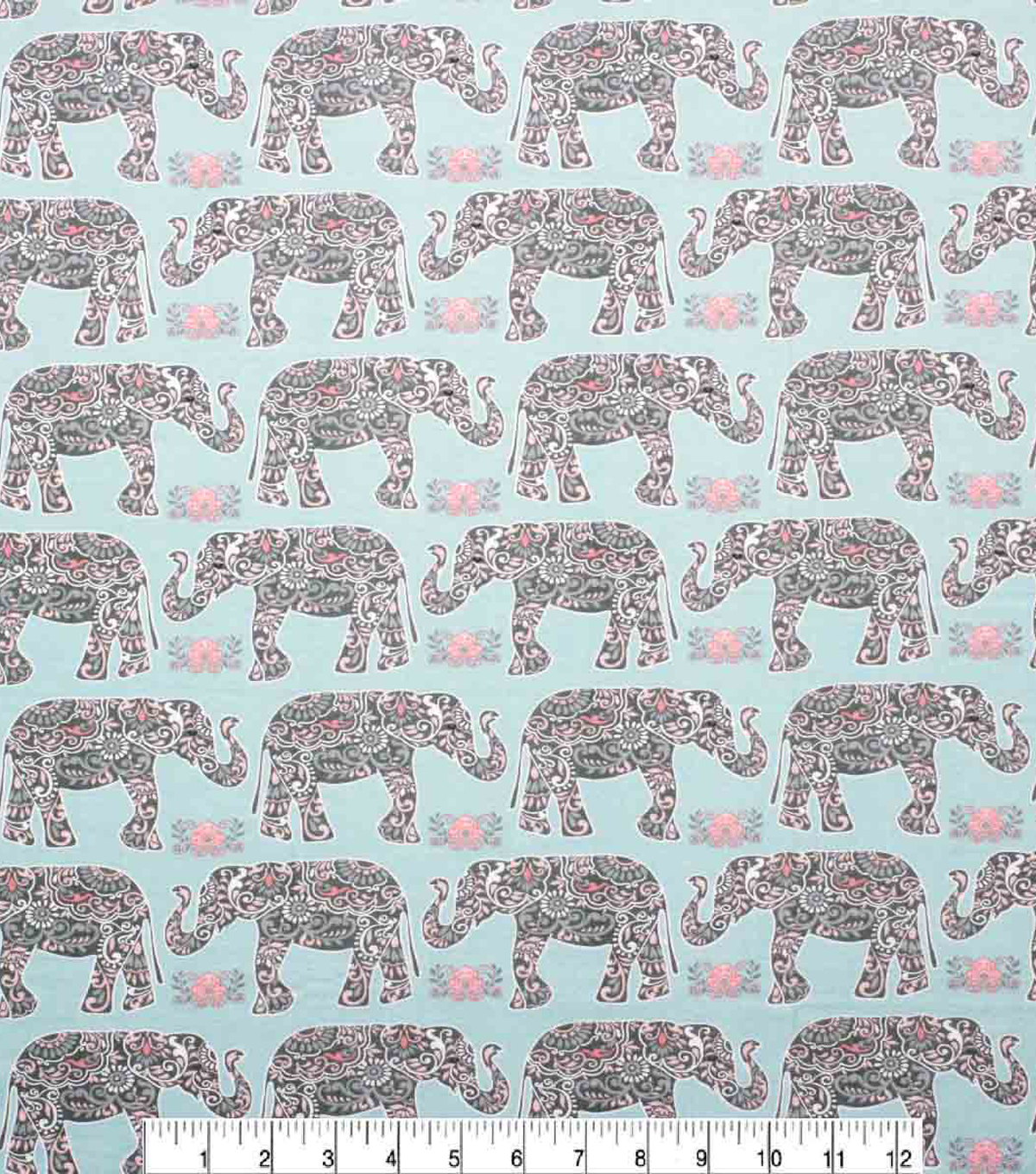 Super Snuggle Flannel Fabric-Patterened Elephant Floral