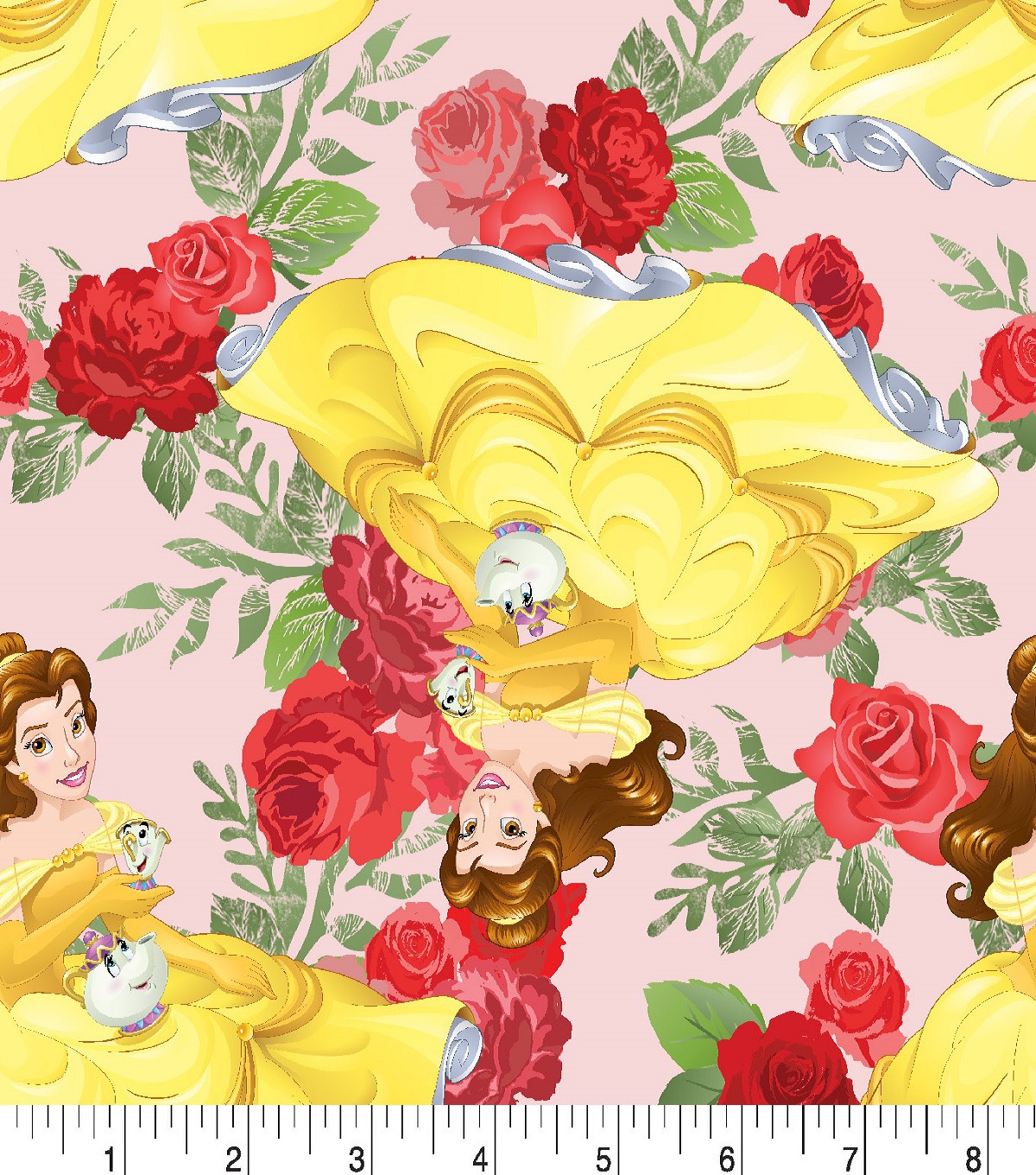 Disney Beauty & The Beast Cotton Fabric -Belle & Rose Toss