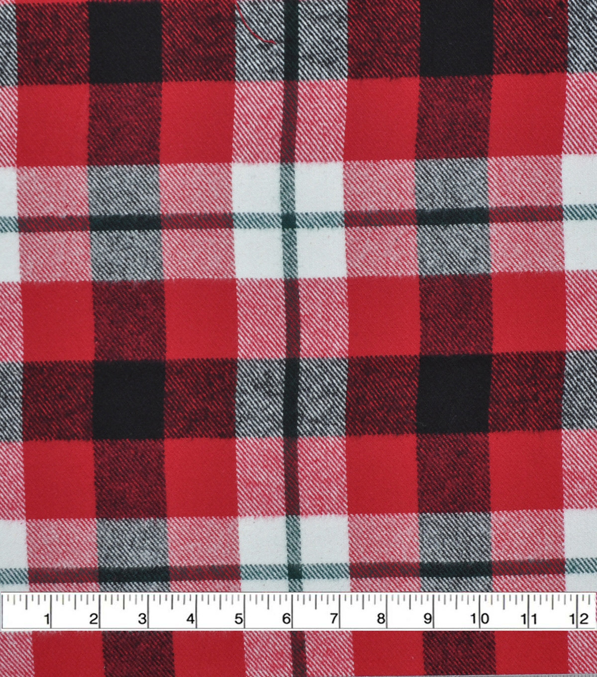 Plaiditudes Brushed Cotton Fabric-Red, Green, Black & Ivory Grid Plaid