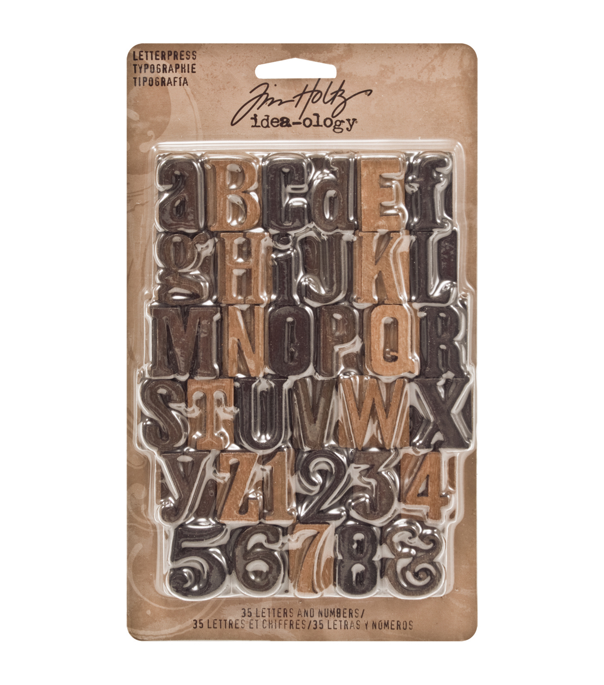 Tim Holtz Idea-Ology 1\u0022 35/Pkg Wood Letterpress