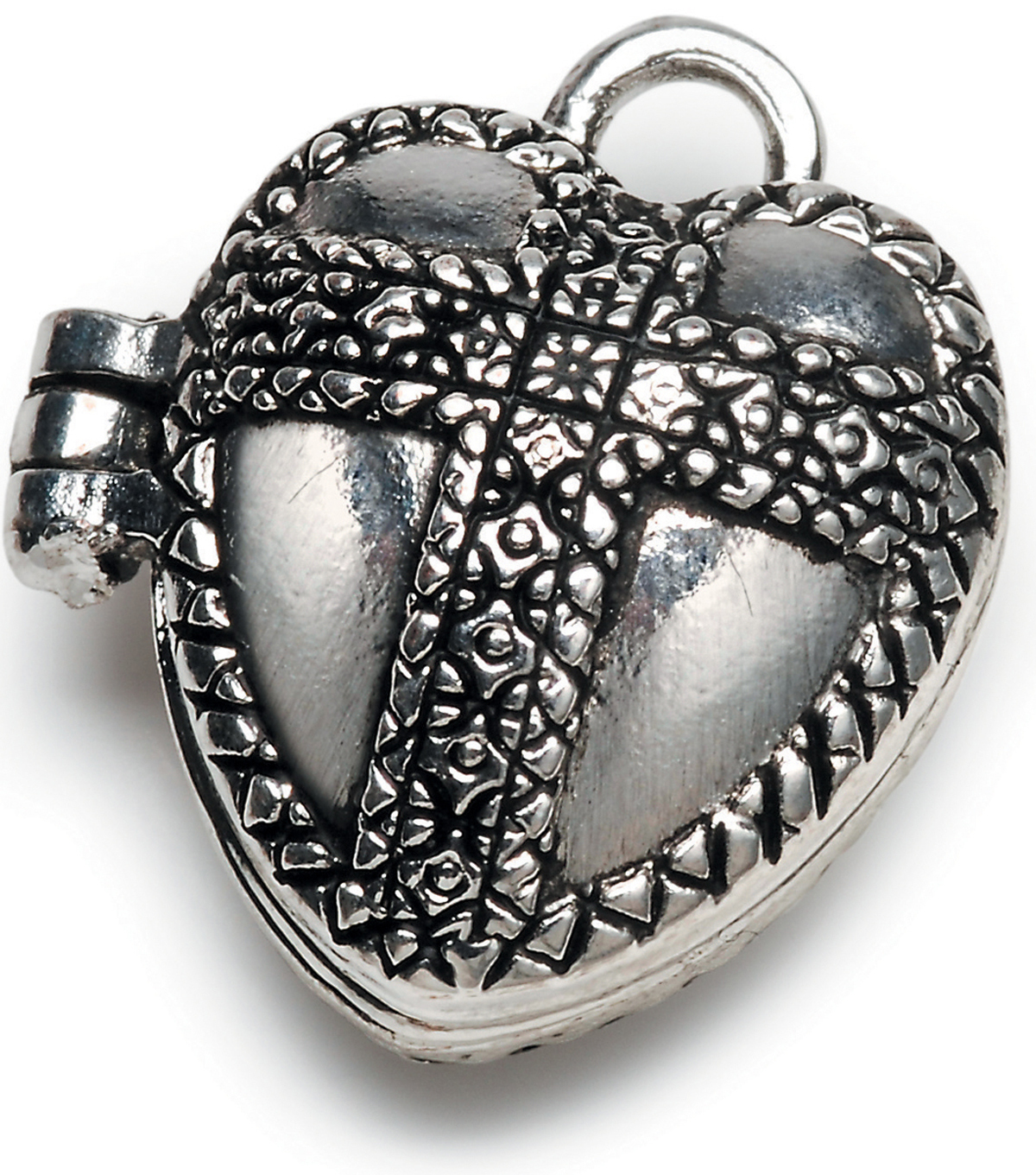 Darice Prayer Box Charm-Antique Silver Heart