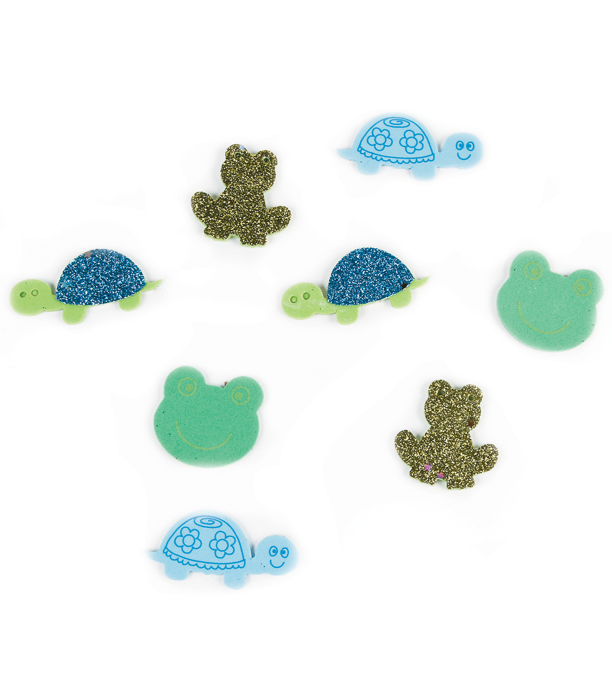 Foam Sticker Confetti-Turtles N Frogs 80/Pkg