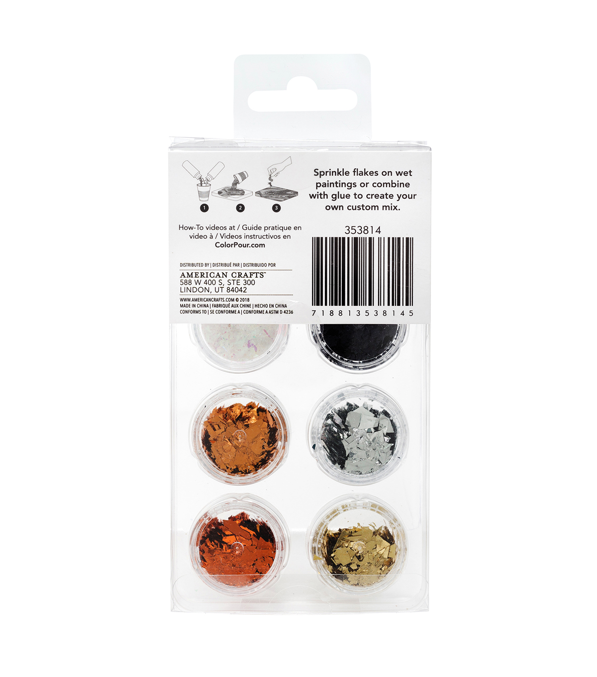American Crafts Color Pour Embellish Foil Flakes-Warm Metallic