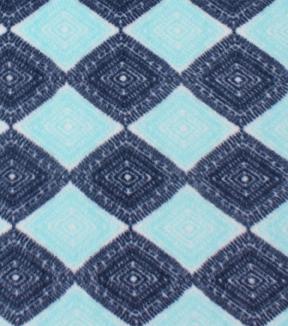 Anti Pill Fleece Fabric Navy Teal Ink Stamp