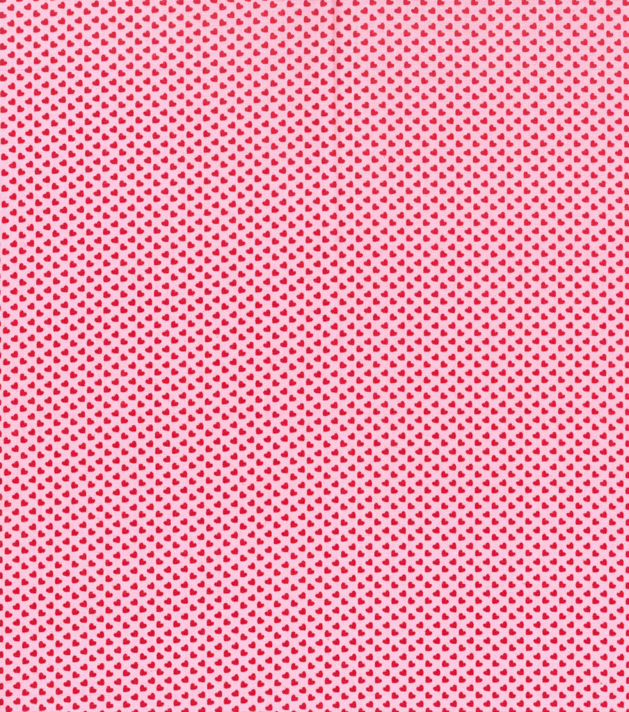 Valentine\'s Day Fabric 43\'\'-Pink with Tiny Hearts | JOANN