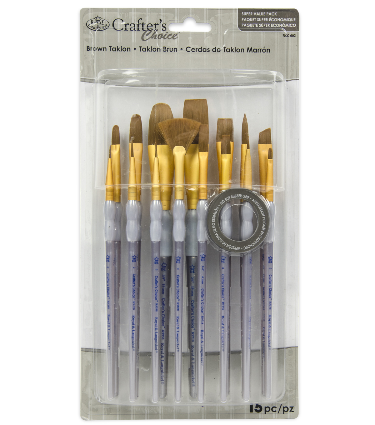 Royal & Langnickel Variety Brush Set 15pk-Brown Taklon