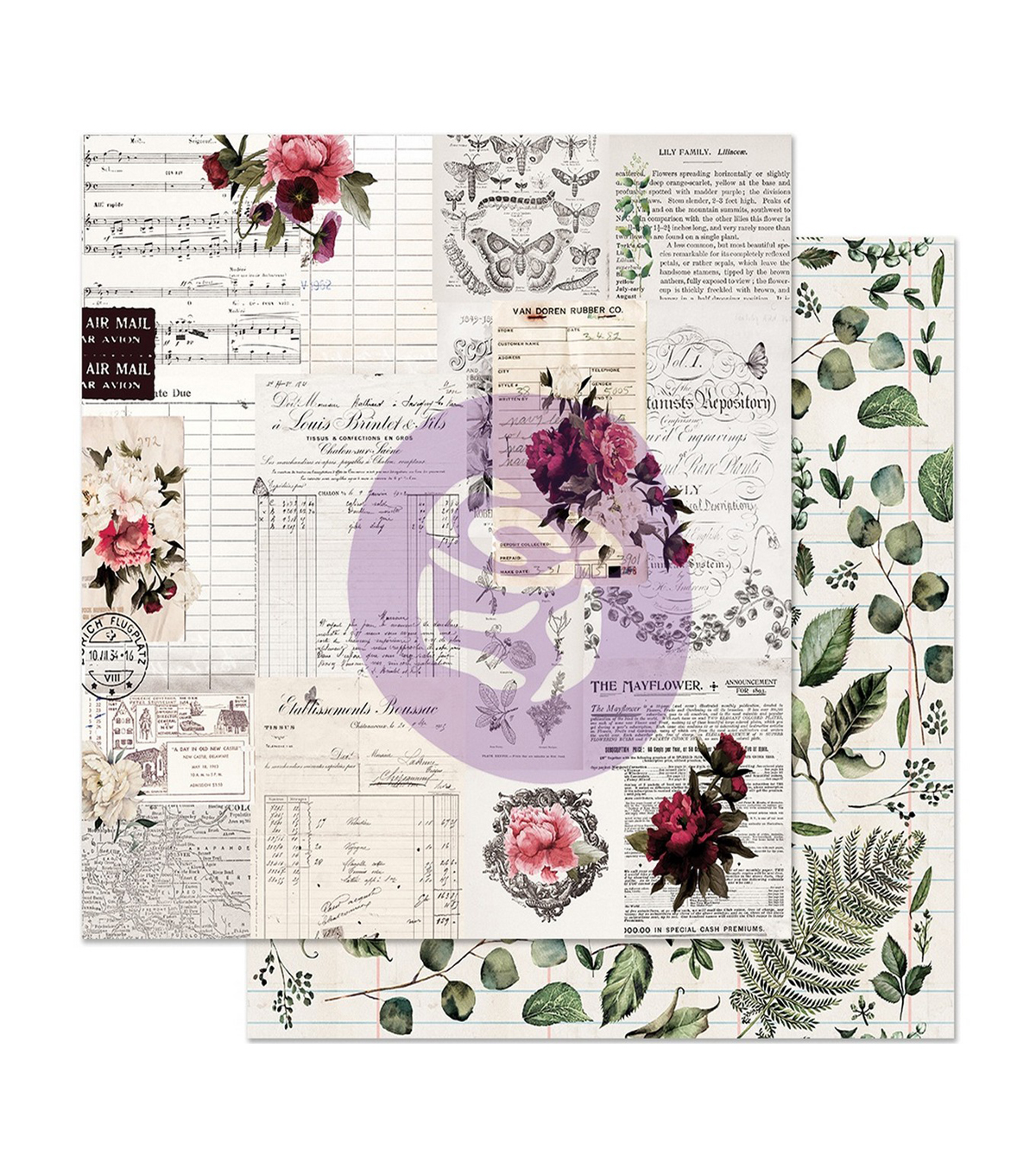 Midnight Garden Foiled Double-Sided Cardstock 12\u0022X12\u0022-Rose Receipts