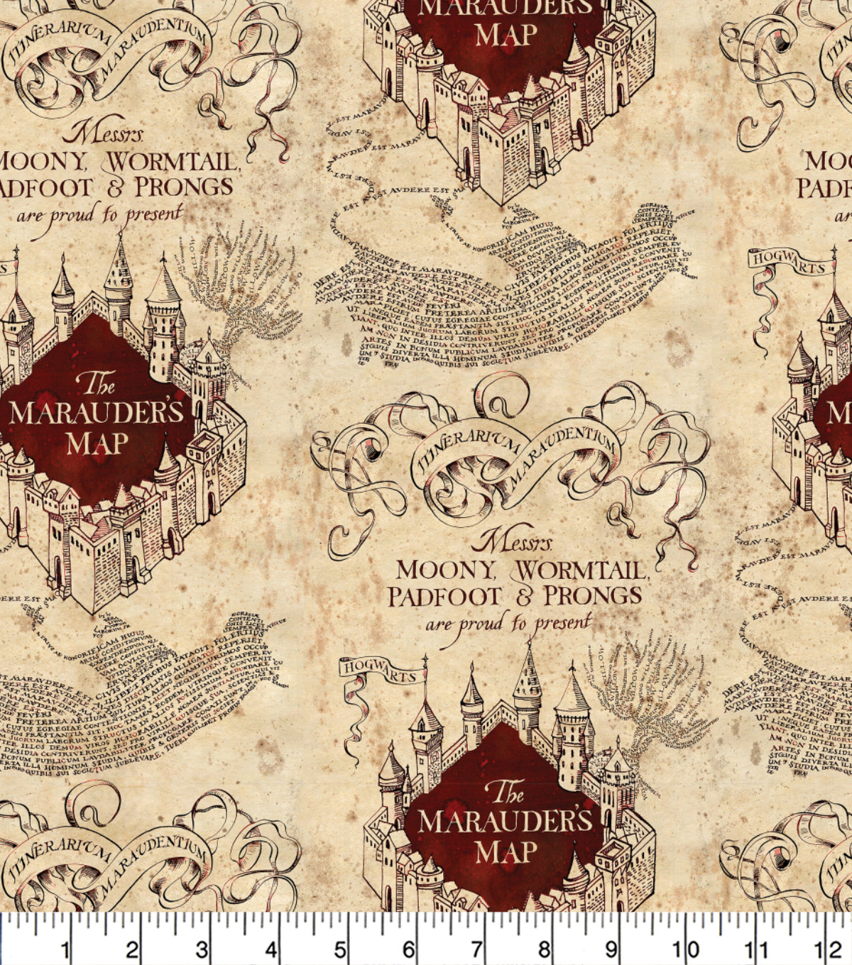 Harry Potter Quilt Cotton Fabric -Marauders Map