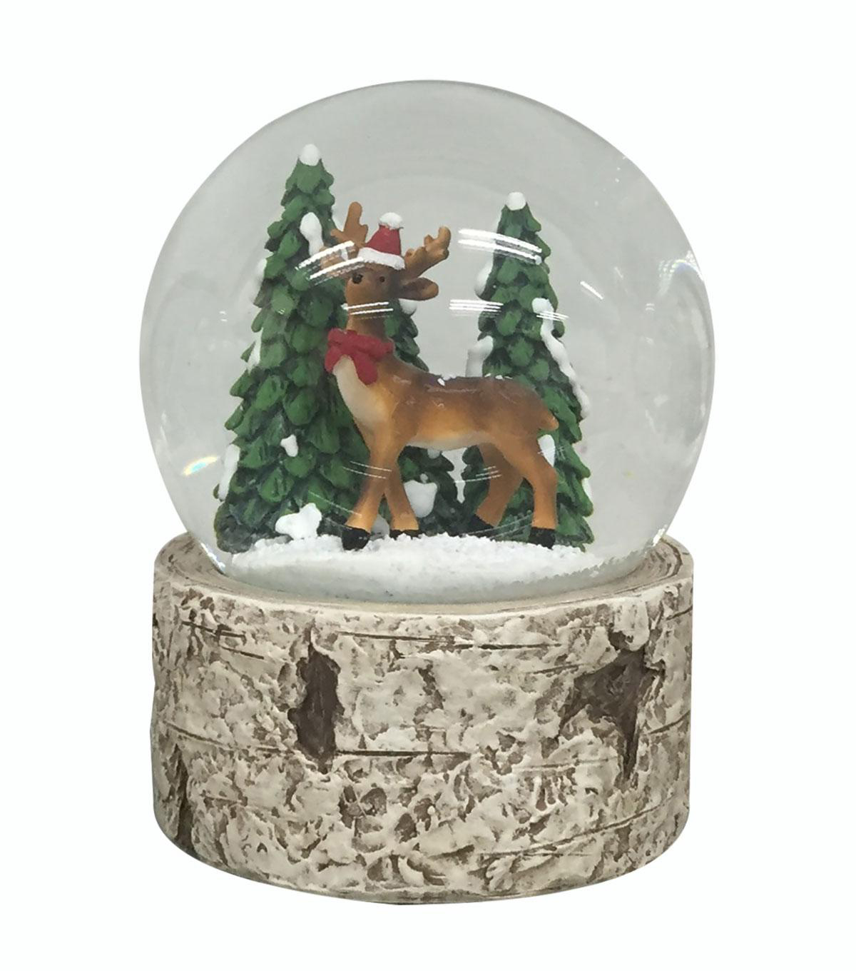 Handmade Holiday Whimsical Reindeer in Water Globe Tabletop Decor