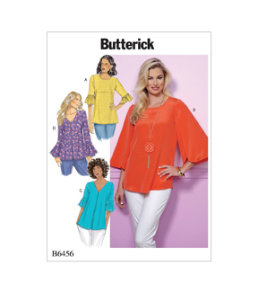 Butterick Pattern B6456 Misses\u0027 Tulip or Ruffle Sleeve Tops-Size 14-22