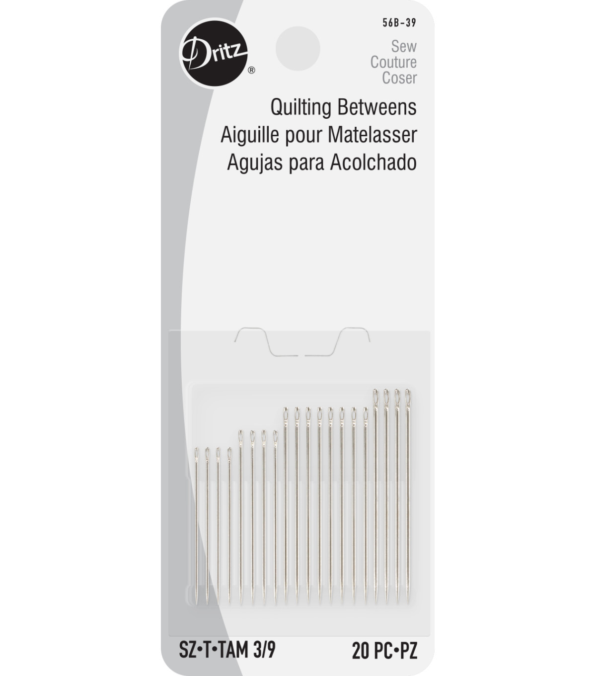 Dritz Quilting Betweens Hand Needles 20pcs Size 5/10, Size 3/9 20/pkg