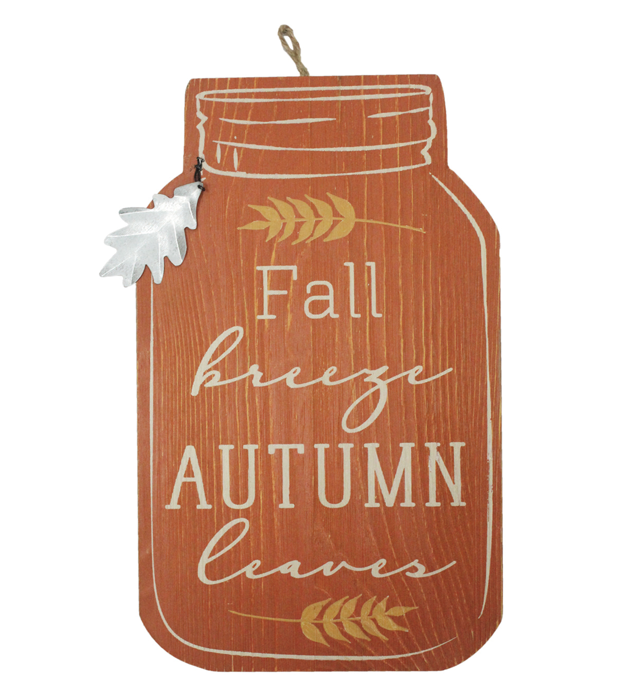 Simply Autumn Wall Decor with Tag-Fall Breeze Autumn Leaves on Orange