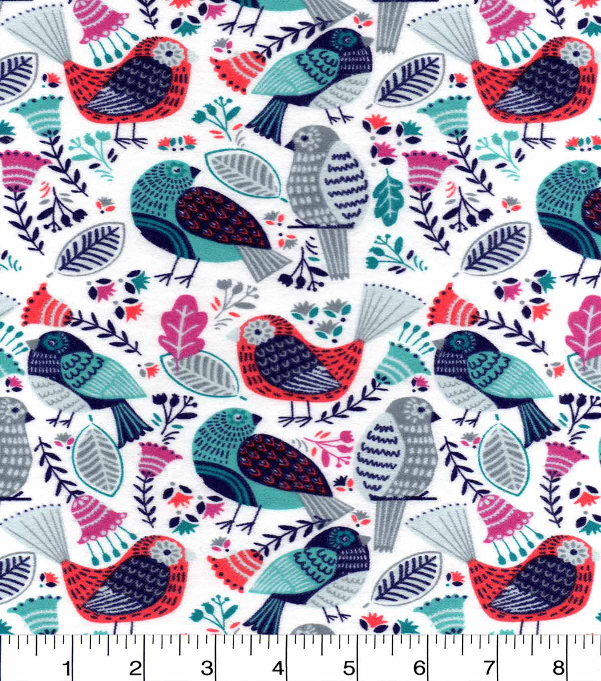 Snuggle Flannel Fabric 42\u0022-Birds Rose Blue