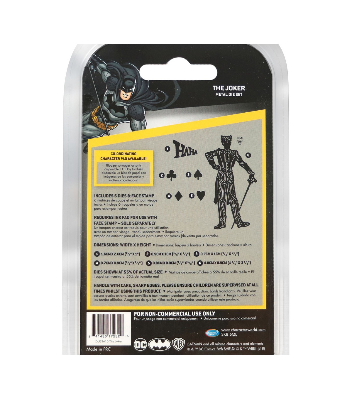 Character World DC Comics Batman Dies & Face Stamp-The Joker