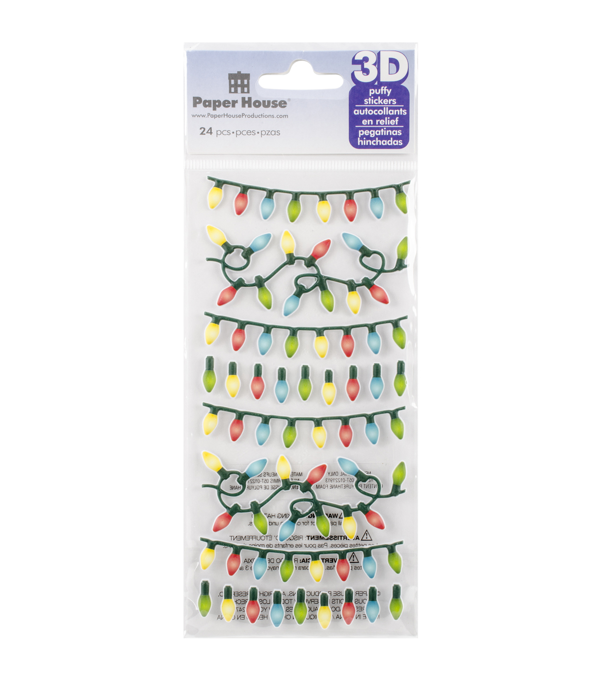 paper house puffy stickers christmas lights