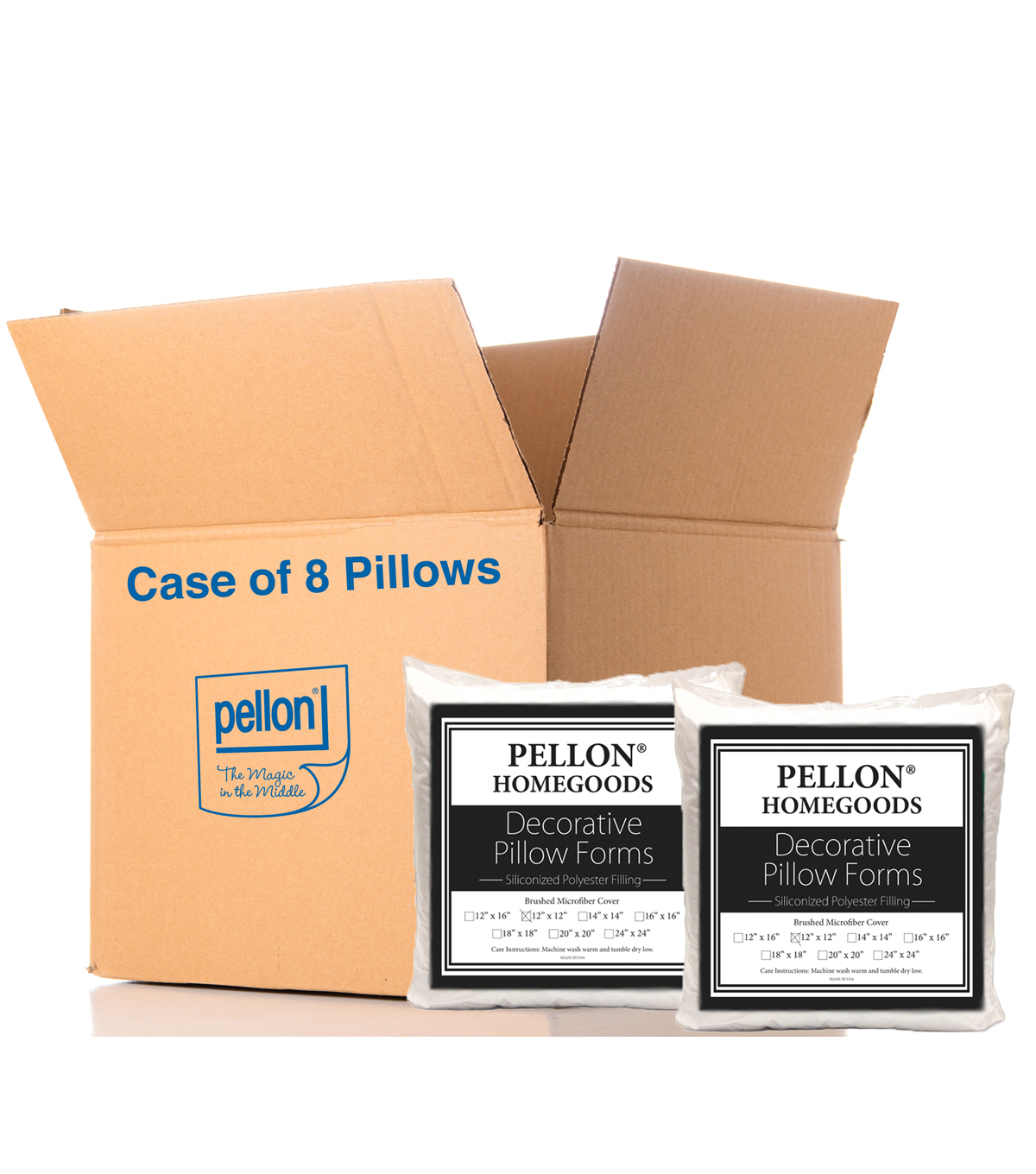 Pellon Decorative 12\u0022 x 12\u0022 Microfiber Pillow Form, 12\u0022 X 12\u0022 Case Of 8