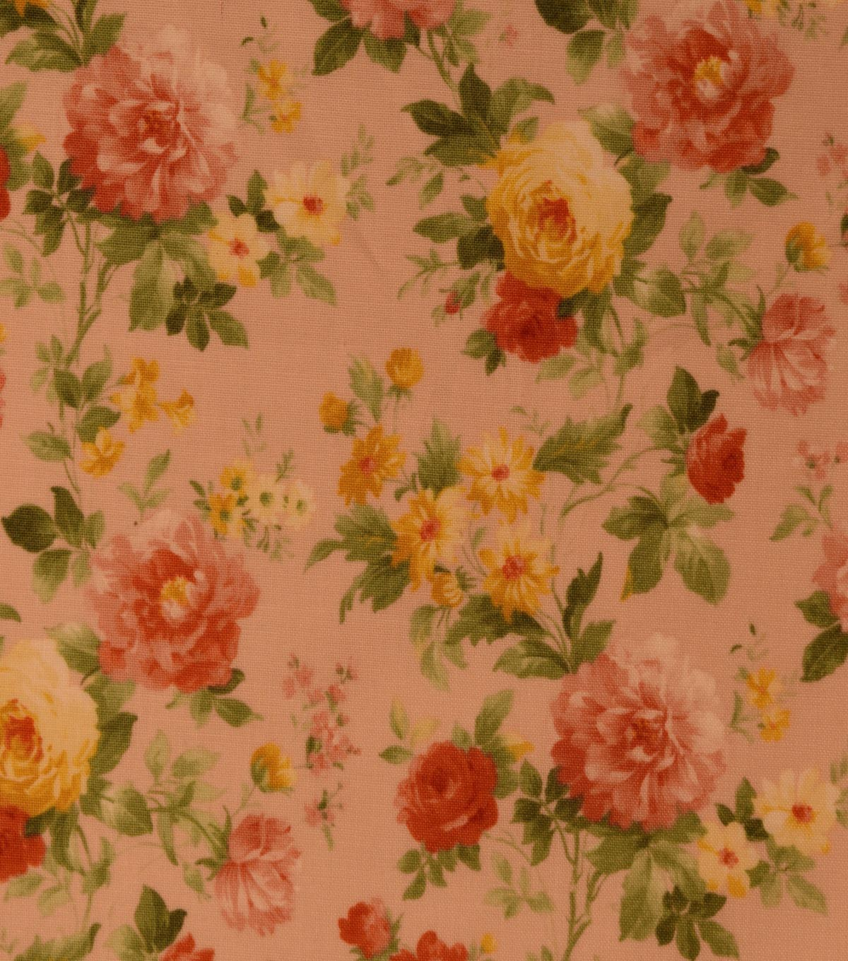 Vintage Premium Cotton Fabric -Tossed Garden on Coral