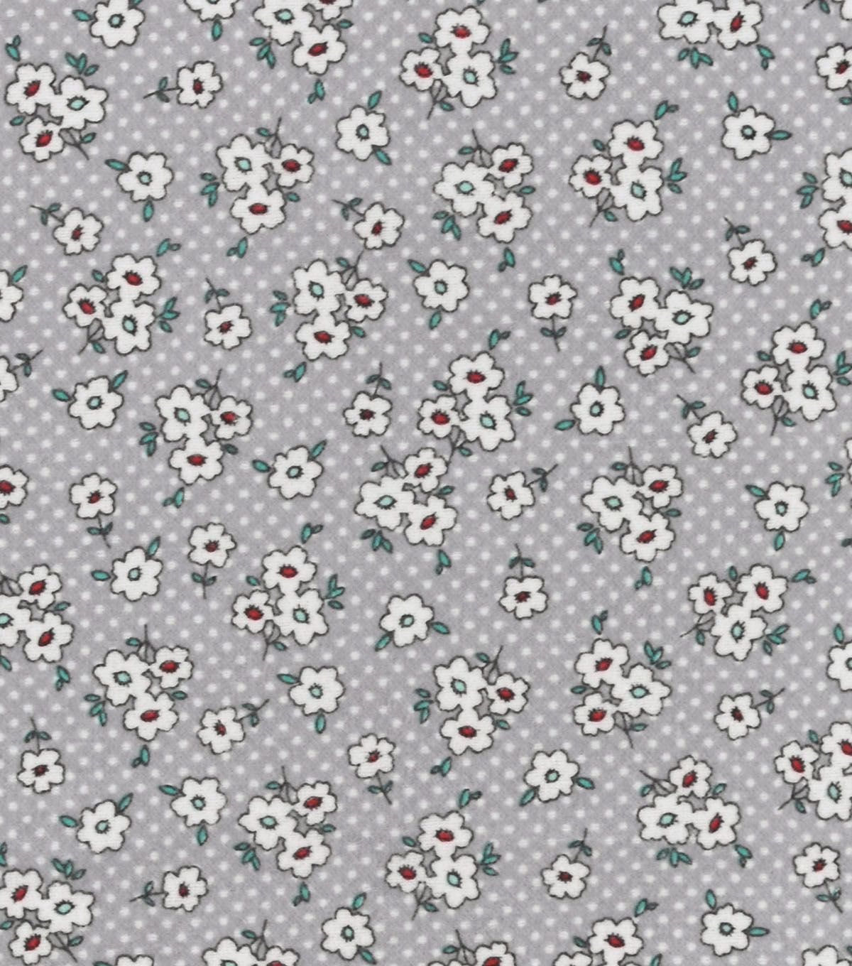 Snuggle Flannel Fabric -Gray Ditsy Floral