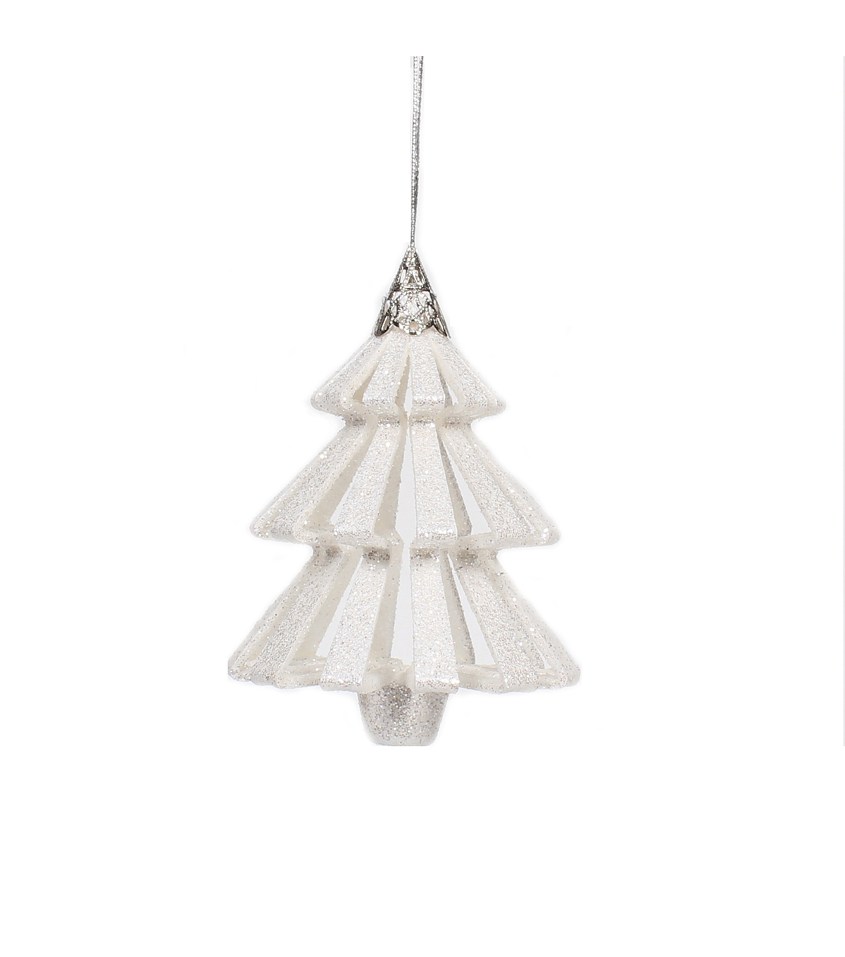 Maker\u0027s Holiday Christmas Arctic Frost 3D Tree Ornament-White