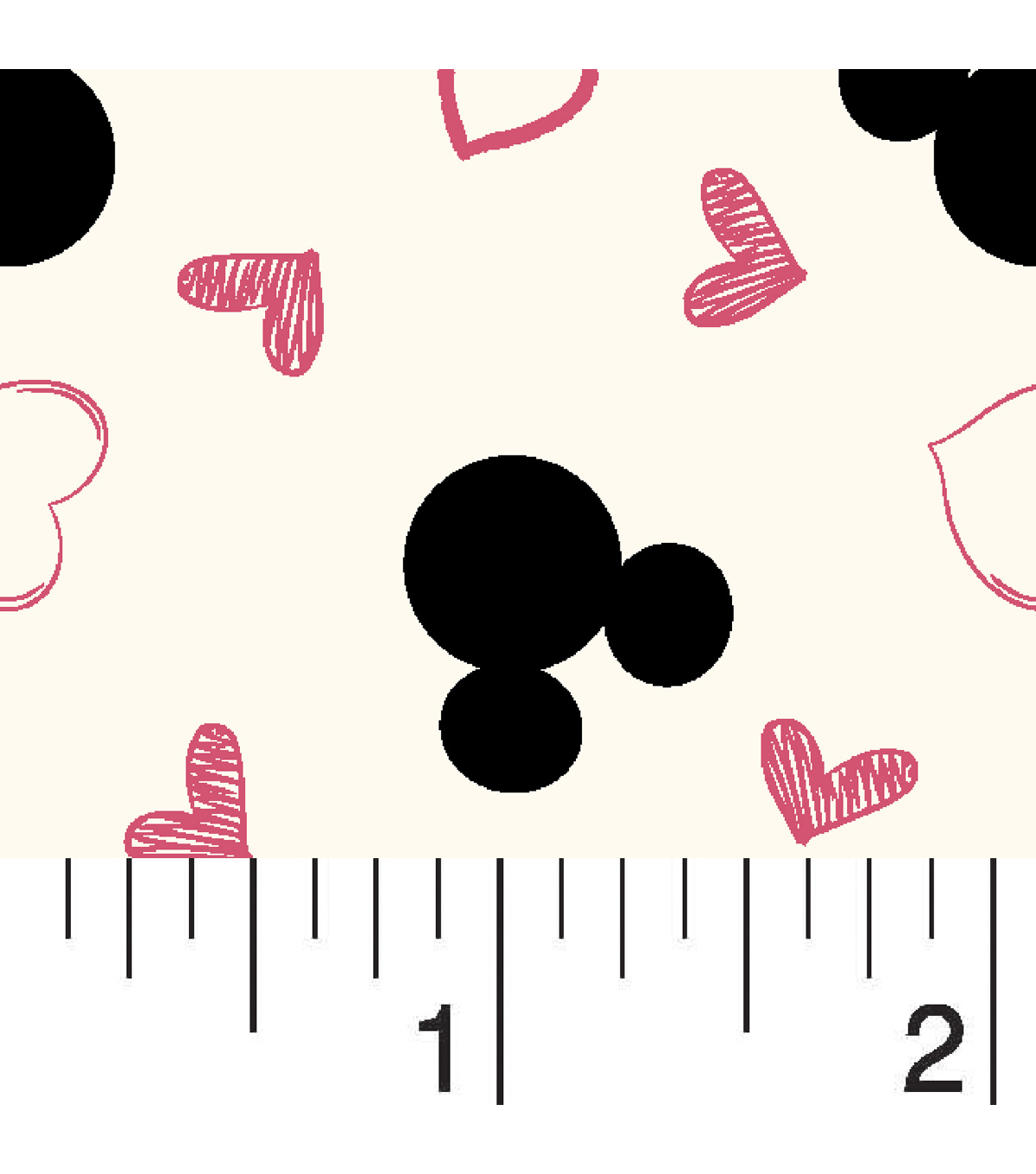 Disney Mickey Mouse Knit Fabric 58\u0027\u0027-Mickey with Hearts