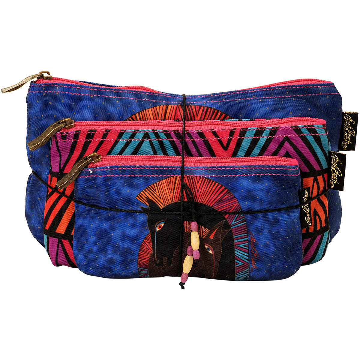 Laurel Burch Cosmetic Bag Set Of Three-Embracing Horses