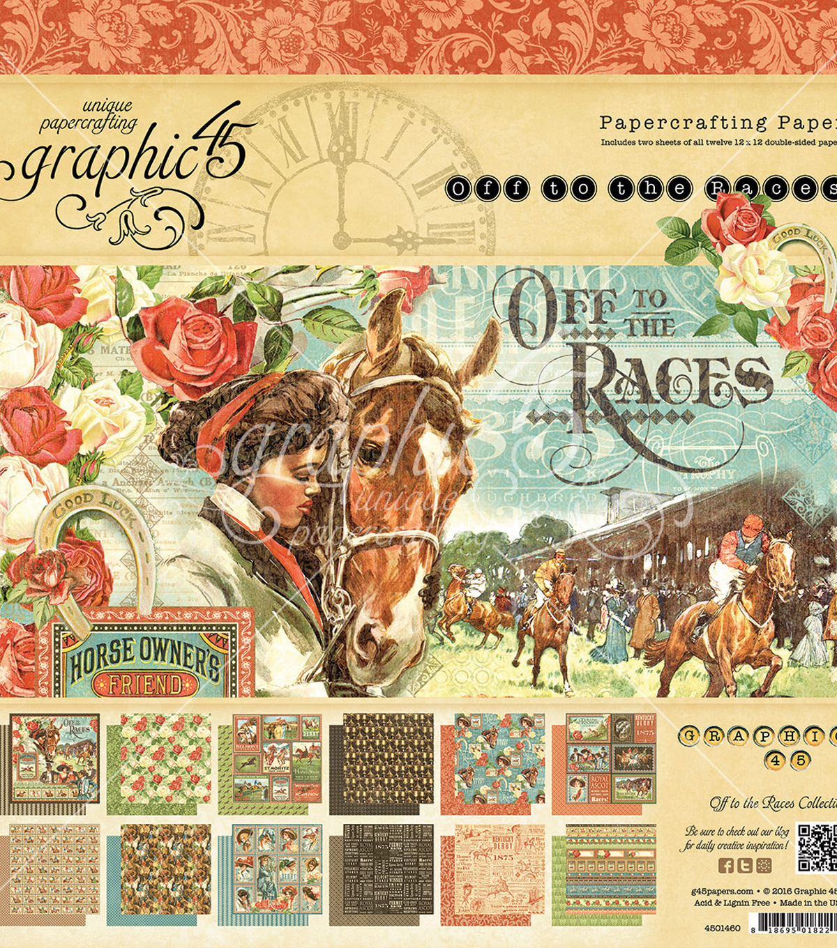 Graphic 45 Double-Sided Paper Pad 12\u0022X12\u0022-Off To The Races