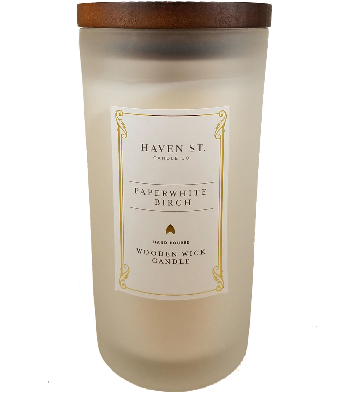 Haven St. Candle Co. 11 oz. Paperwhite Birch Scented Wooden Wick Candle