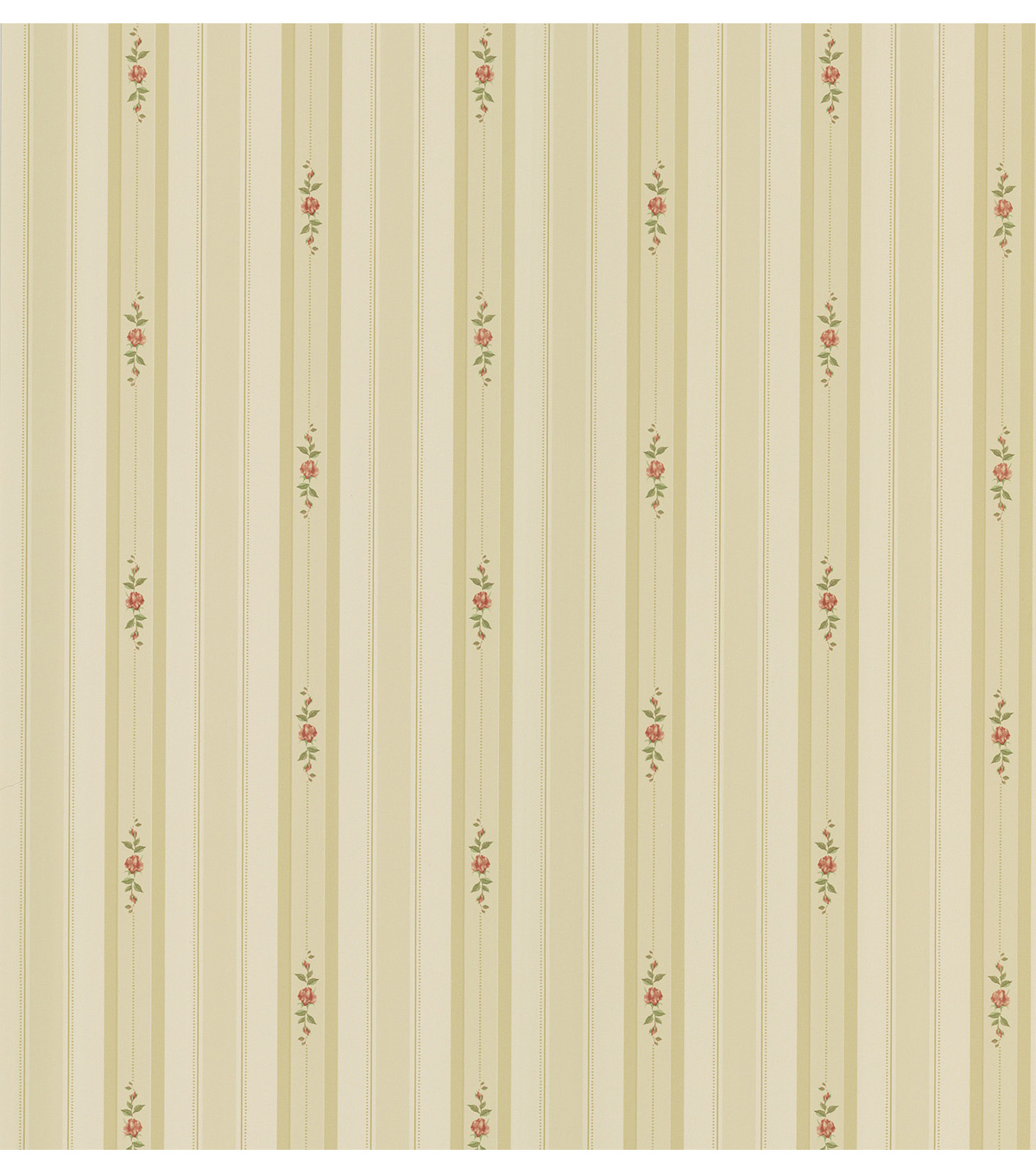 Rosebud Beige Floral Stripe Wallpaper Sample