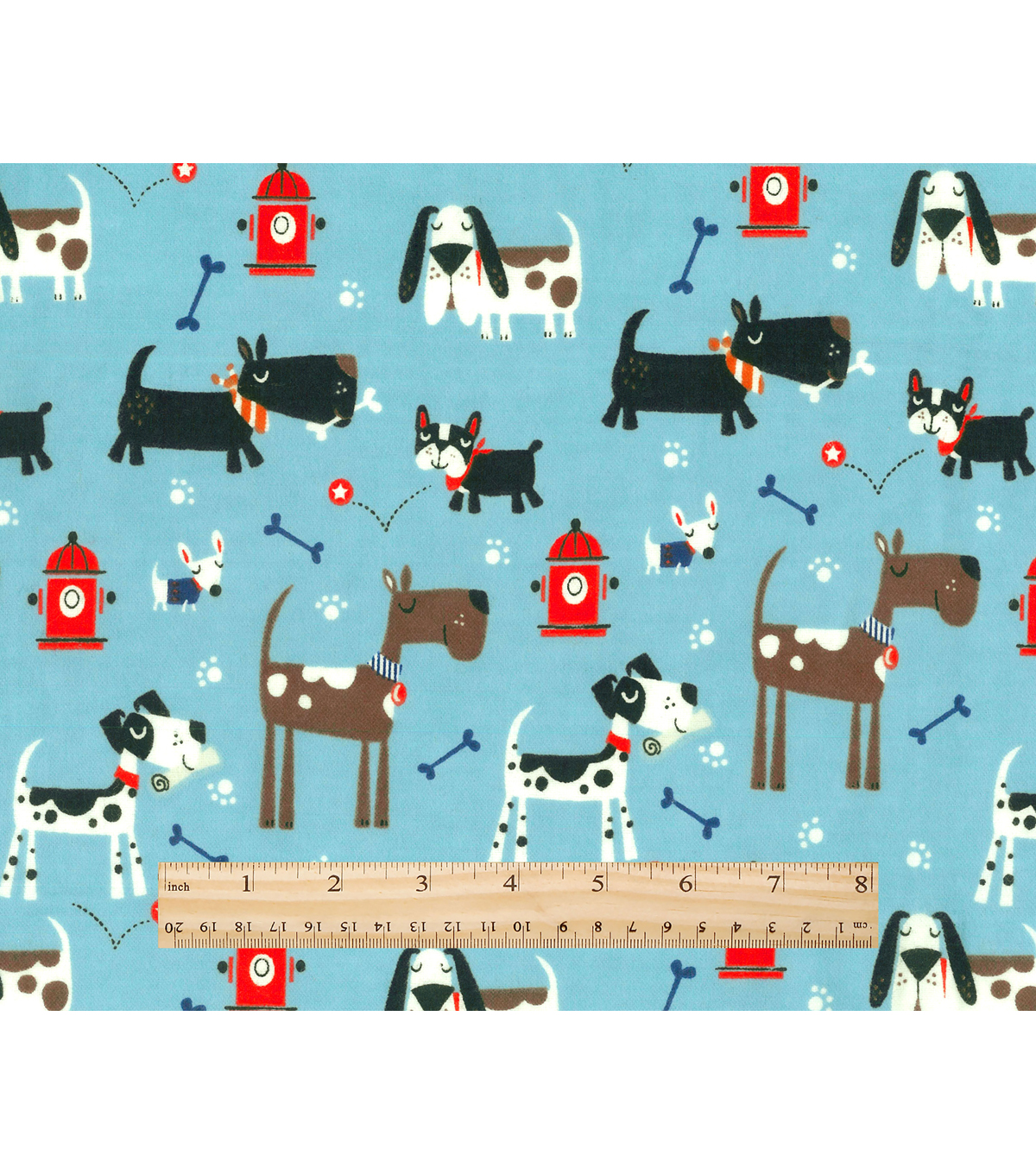 Snuggle Flannel Fabric -Dogs Bones And Fire Hydrants