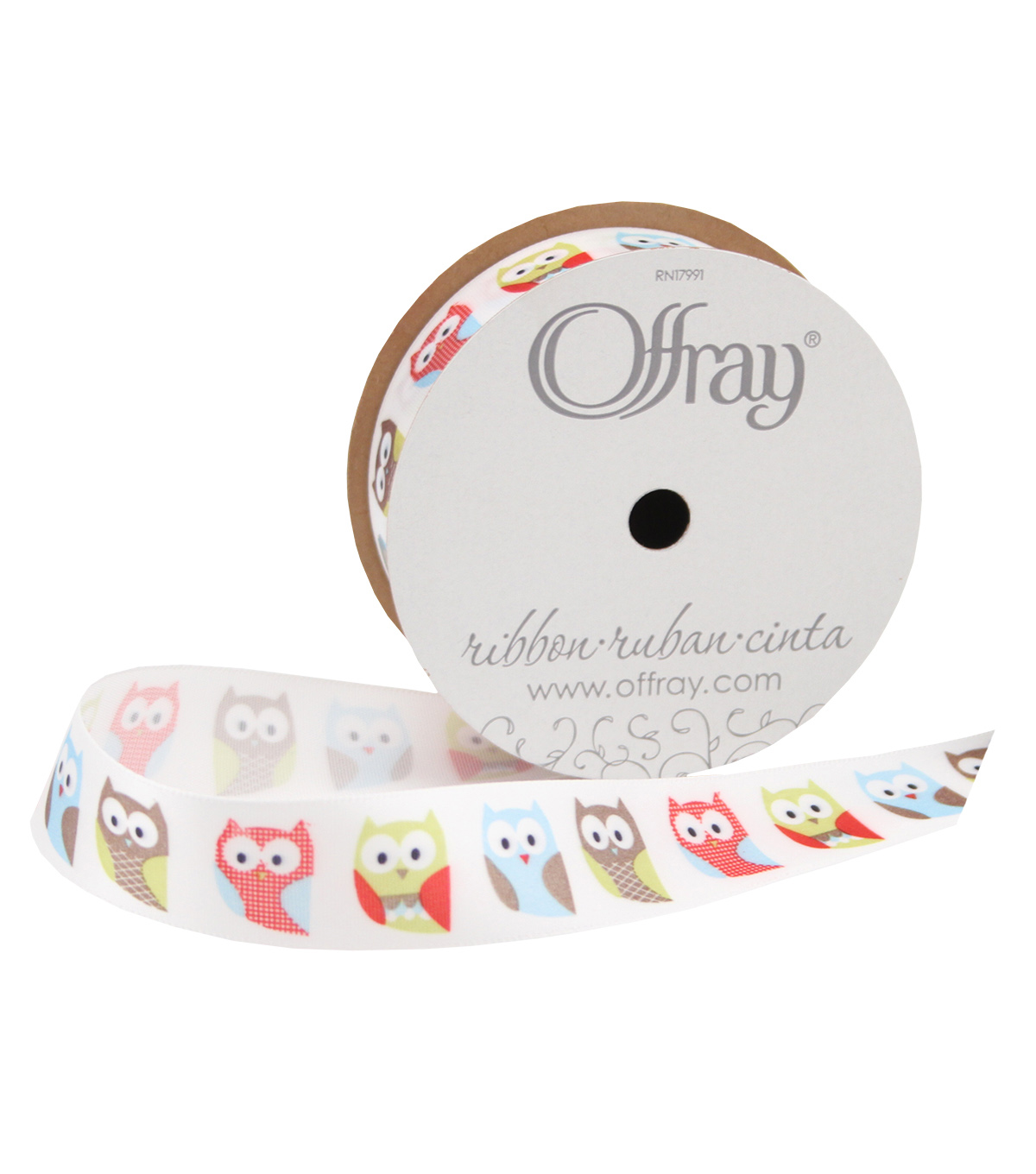 Offray 7/8\u0022x9\u0027 Woodland Owl Animal Single Faced Satin Ribbon-White