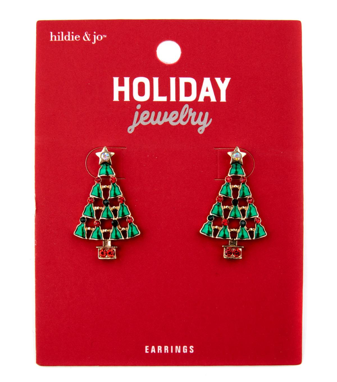 hildie & jo Christmas Holiday Jewelry Tree Earrings-Crystals   JOANN