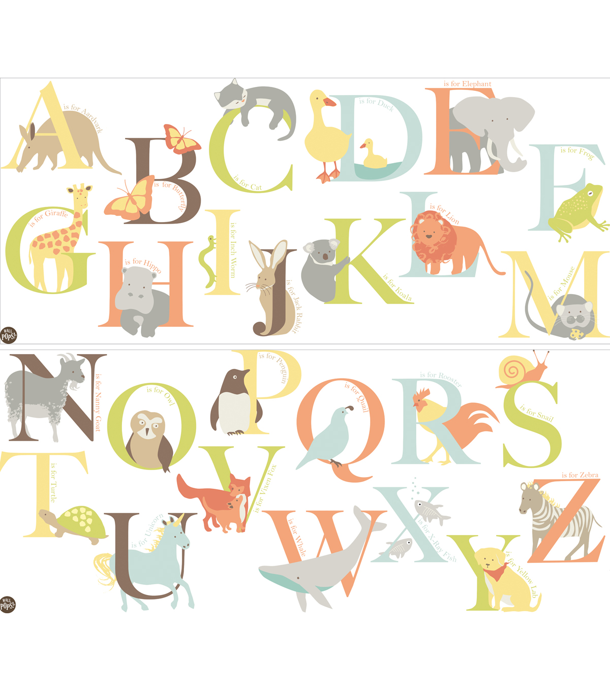 Wall Pops Alphabet Zoo Wall Art Decal Kit, 26 Piece Set