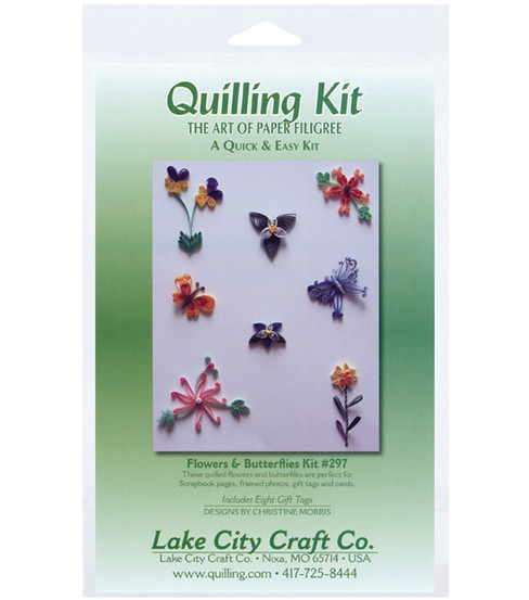 Lake City Crafts Quilling Kit-Flowers & Butterflies