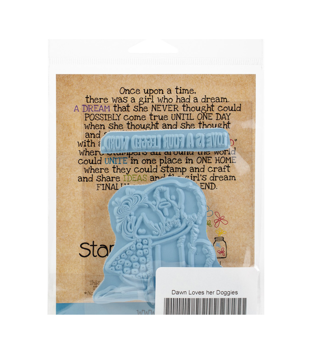 Stamping Bella Rubber Cling Stamps-Tiny Townie Dawn Loves Her Doggie