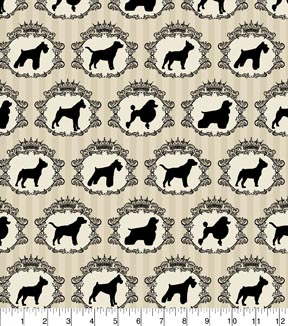 Novelty Cotton Fabric 43\u0022-Dog Portraits On Cream