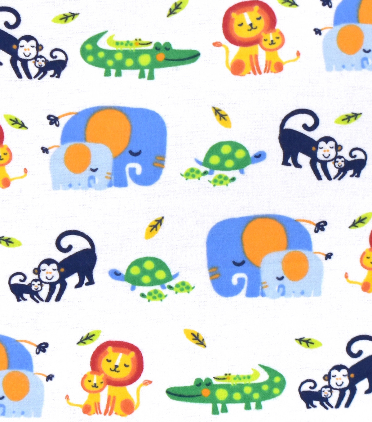 Nursery Flannel Fabric -Bright Jungle 2 By 2