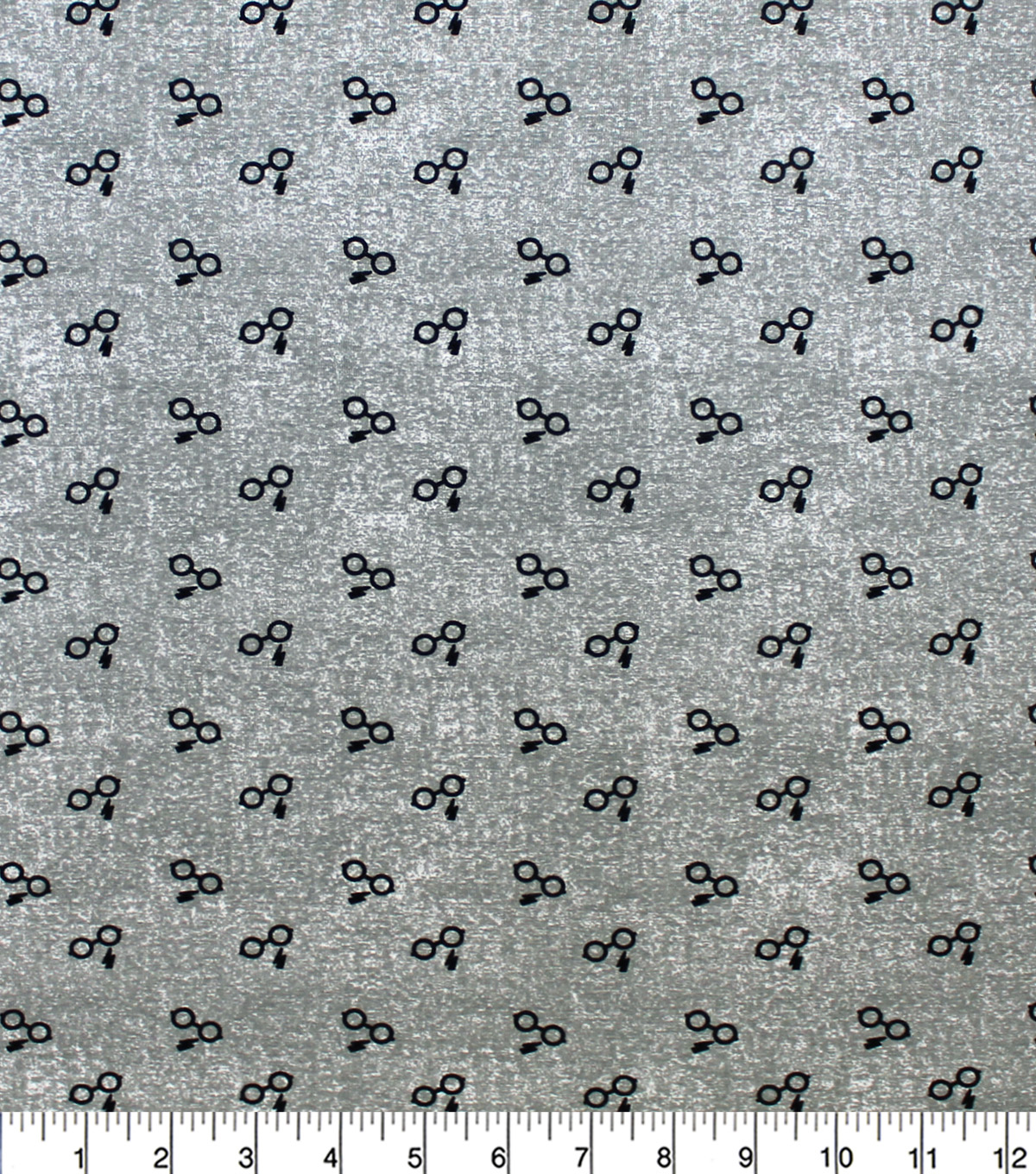 Harry Potter Knit Fabric-Glasses & Bolts on Gray