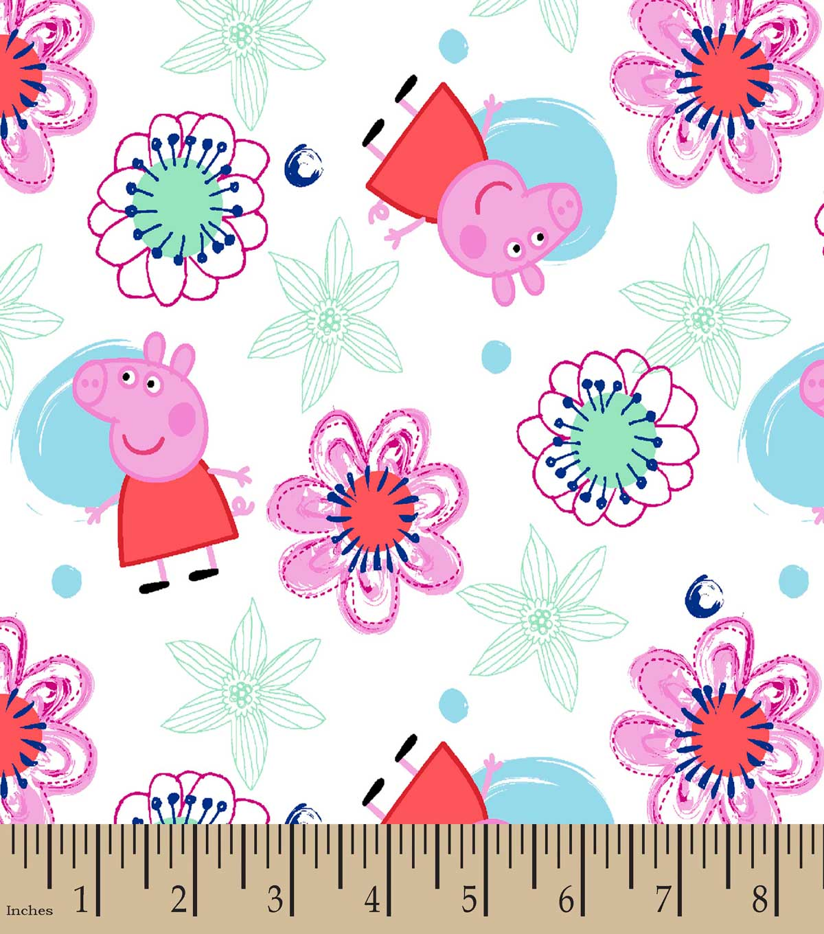 Peppa Pig Floral Print Fabric