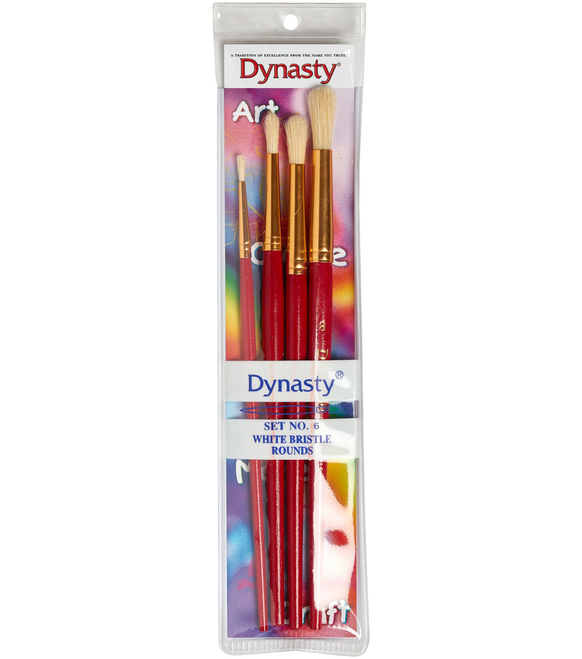 Dynasty Craft & Hobby Brush Sets-White Bristle Rounds Assortment 4/Pkg