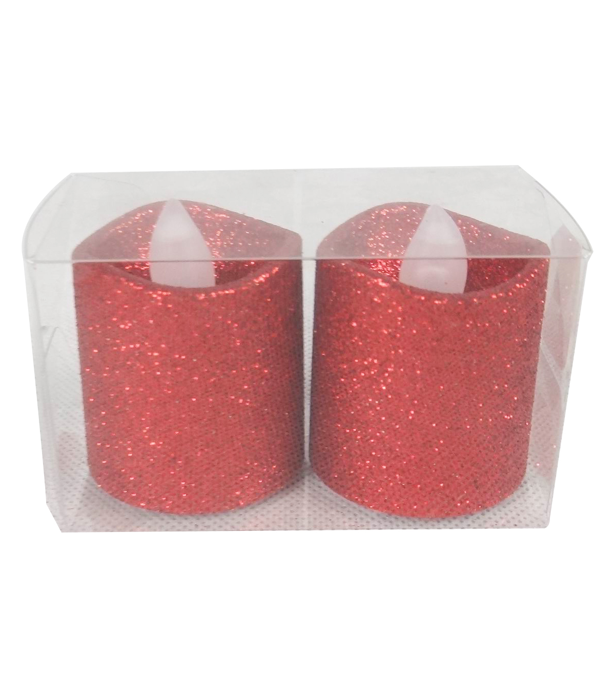 Handmade Holiday Christmas 2 pk LED Votive Candles-Red